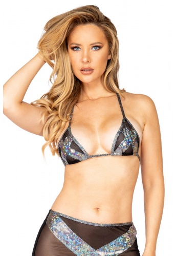 Black and Silver Iridescent Criss-Cross Triangle Top