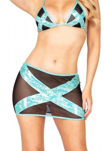 Black and Light Green Iridescent Criss-Cross Skirt