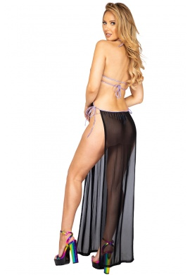 Black and Lavender Sheer Mesh Maxi Length Dress with Tie Side