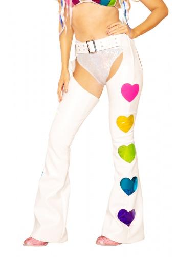 White and Rainbow Vinyl Heart Chaps