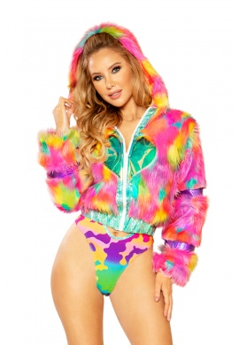 Rainbow Fur Heart Window Jacket
