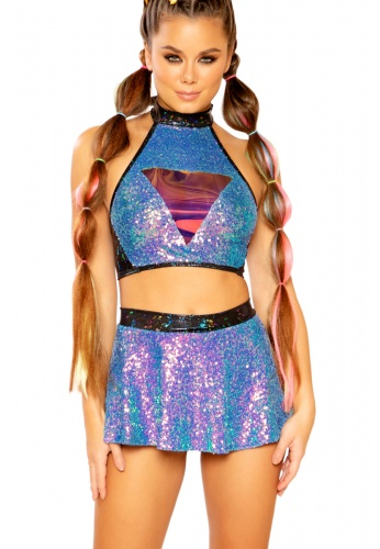 Water Opal Sequin Skater Skirt