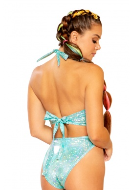 Mint Coated Keyhole Halter Top