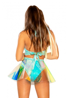 Mint Sea Ice Holographic Vinyl Skirt