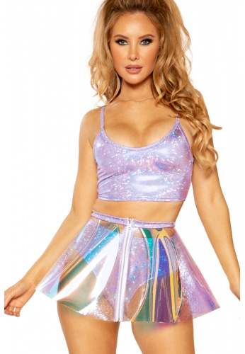 Lavender Pink Ice Holographic Vinyl Skirt