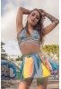 Silver Holographic Lace-Up Bikini Top