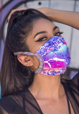 Electric Lavender Spandex Pleated Mask with Filter