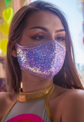 Lavender Dreams Sequin Tailored Face Mask