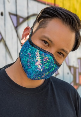 Water Opal Sequin Tailored Mask
