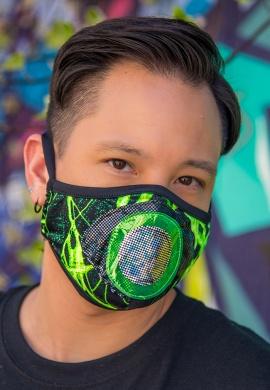 Green Lightning Eyeball Tailored Mask
