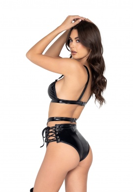 Black and Nude Vinyl Bikini Top With Ring Detail