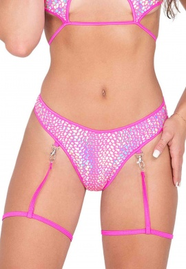 Holographic Pink Shorts with Removable Clipped Garters