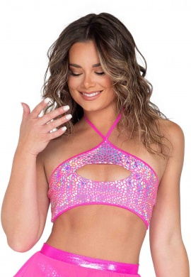 Holographic Pink Cutout Cropped Top