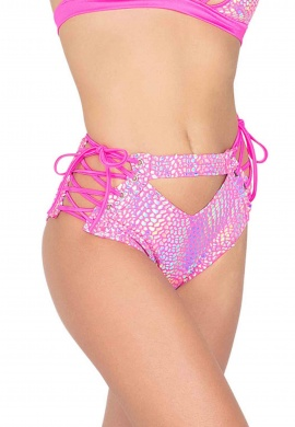 Pink Holographic Cutout High Waisted Shorts