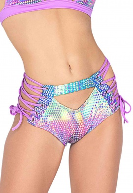 Rainbow Holographic Cutout High Waisted Shorts
