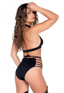 Black Strappy Ring Detailed High Waisted Shorts