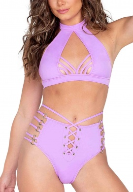 Lavender Strappy Ring Detailed High Waisted Shorts
