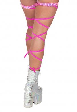 Holographic Pink Gartered Leg Wraps
