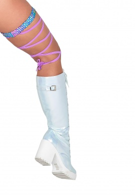 Holographic Rainbow Gartered Leg Wraps