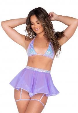 Lavender Sheer Mesh Skirt