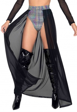 Black and Silver Open Long Sheer Skirt