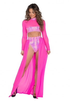 Pink Open Long Sheer Skirt