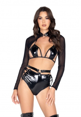 Black Vinyl Cutout Bikini Top