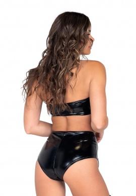 Black Vinyl High Waisted Lace-Up Shorts