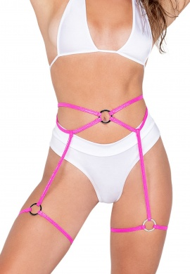 Pink Shimmer Garters with Ring Details