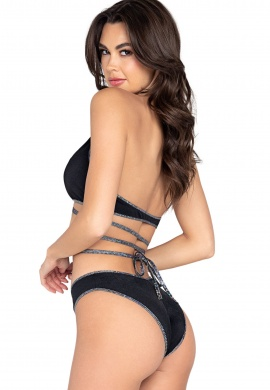 Black Two-Tone Shorts with Shimmer Front Panel