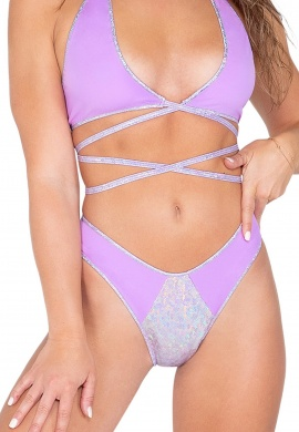 Lavender Two-Tone Shorts With Shimmer Front Panel
