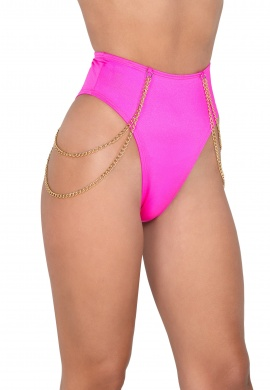 Hot Pink High Waisted Shorts with Chain Detail