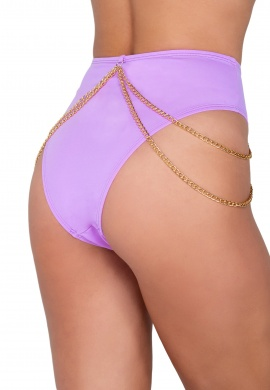 Lavender High Waisted Shorts with Chain Detail