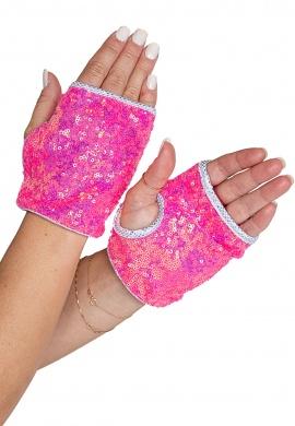 Hot Pink Open Finger Sequin Gloves