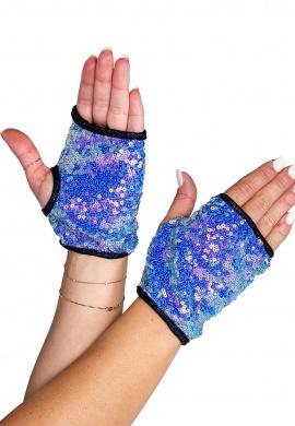 Jade Blue Open Finger Sequin Gloves