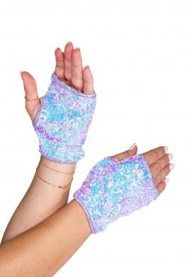 Lavender Open Finger Sequin Gloves