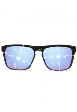 Flat Black Blue Mirror Diffraction Glasses