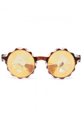 Amber Wormhole Kaleidoscope Glasses