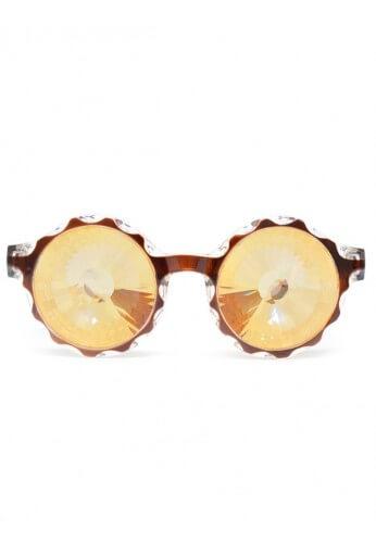 Amber Wormhole Kaleidoscope Glasses