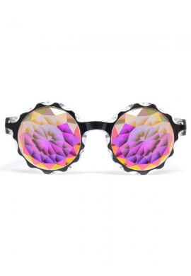 Black Crown Fractal Kaleidoscope Glasses