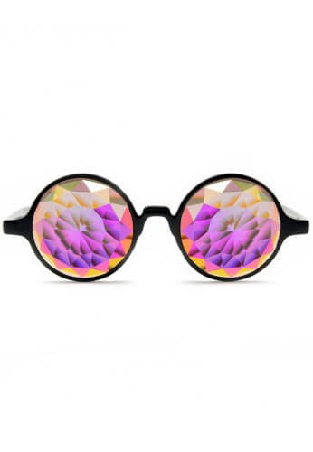 Black Fractal Kaleidoscope Glasses