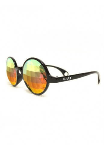 Black Rainbow Bug Kaleidoscope Glasses