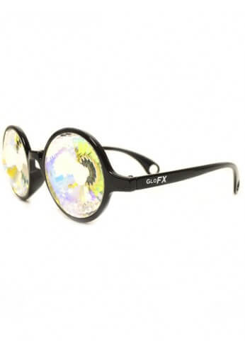 Black Rainbow Wormhole Kaleidoscope Glasses