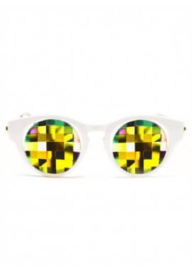 White Cat Eye Kaleidoscope Glasses