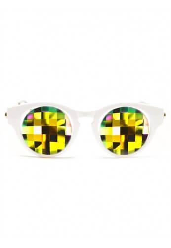 White Cat Eye Kaleidoscope Glasses