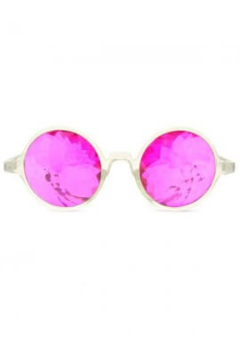 Clear Magenta Kaleidoscope Glasses