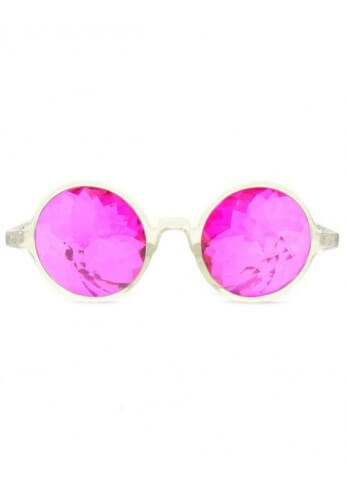 Clear Magenta Kaleidoscope Glasses