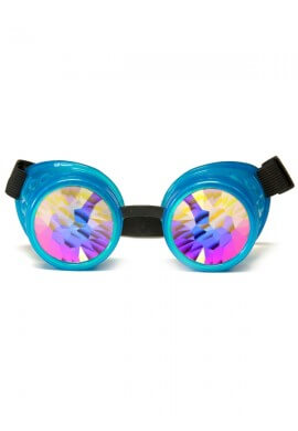 Glowing Blue Kaleidoscope Goggles