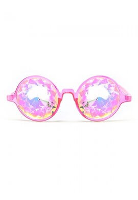 Pink with Rainbow Kaleidoscope Glasses