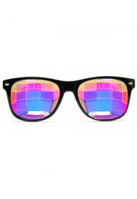 Black Wayfarer Bug Eye Kaleidoscope Glasses